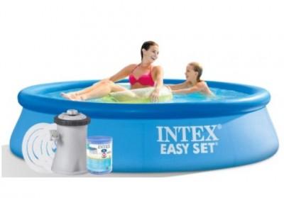 Акция! Тент за 295 грн  в подарок! Надувной бассейн Intex Easy Set Pool 28108, 244 см х 61 см + насос фильтр