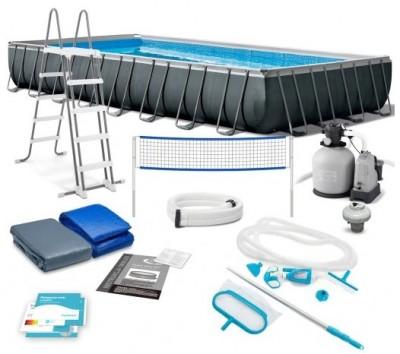 Каркасный бассейн Intex 54495 ULTRA FRAME POOL (975 см х 488 см х 132 см) + хлорогенератор + аксессуары