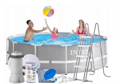 Каркасный бассейн Intex Prism Frame Pool 28758 (366 см х 99 см) + лестница + фильт-насос