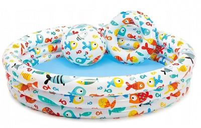 Детский надувной бассейн 3 в 1 Intex 59469 (132 см х 28 см)