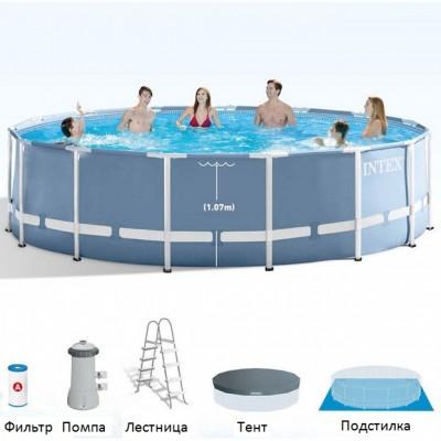 Каркасный бассейн Intex Prism Frame Pool 28310 (427 см х 107 см) + фильт-насос + аксессуары