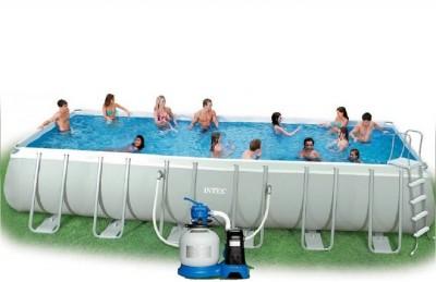 Каркасный бассейн Intex 54490 ULTRA FRAME POOL (975 см х 488 см х 132 см) + хлорогенератор + аксессуары