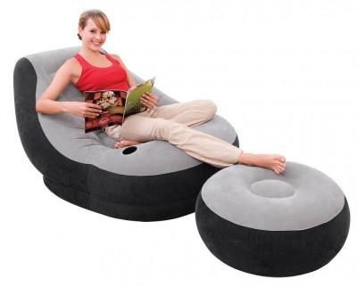 Надувное кресло с пуфиком Intex 68564 (130 см х 99 см х 73 см)