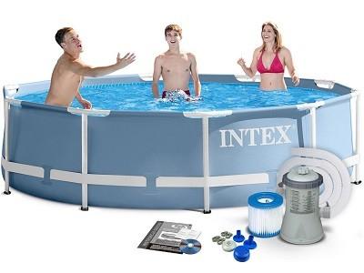 Акция!Каркасный бассейн Intex Prism Frame Pool 28702 (305 см х 76 см) + фильт-насос + катридж