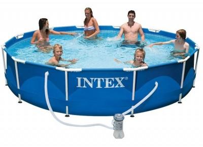 Акция! Тент в подарок! Каркасный бассейн Metal Frame Pool Intex 56699 (366 см х 76 см) + насос фильтр + катридж