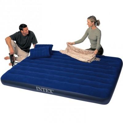 Акция!!!Двухместный надувной матрас Intex Royal 68765 +ручной насос и 2 подушки(203см x 152см x 22)