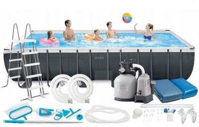 Акция! Каркасный бассейн Intex 28386 ULTRA FRAME POOL (732 см х 366 см х 132 см) + хлорогенератор + аксессуары