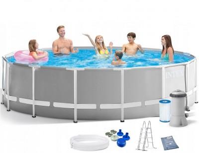 Акция! Каркасный бассейн Intex Prism Frame Pool 28726 (366 см х 122 см) + лестница + фильт-насос + подарок