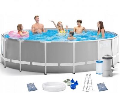 Акция! Тент в подарок! Каркасный бассейн Intex Prism Frame Pool 26746 (305 см х 99 см) + лестница + фильт-насос