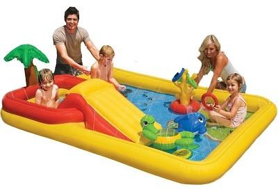 Акция! Надувной игровой центр Intex 57454 (254 см х 196 см х 79 см) + матрас для плаванья в подарок!