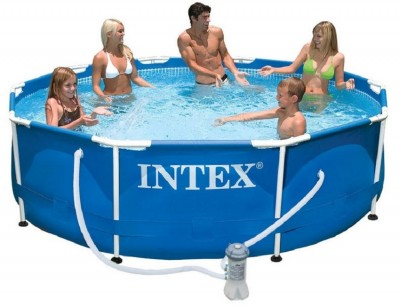 Акция! Каркасный бассейн Metal Frame Pool Intex 28202 (305 см х 76 см) + насос фильтр + катридж