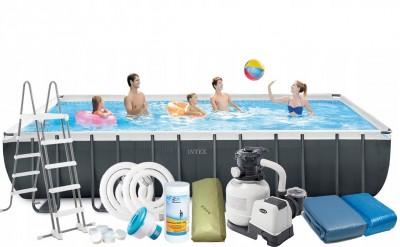 Каркасный бассейн Intex 28366 ULTRA FRAME POOL (732 см х 366 см х 132 см) + хлорогенератор + аксессуары