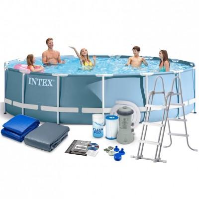 Каркасный бассейн Intex Prism Frame Pool 28736 (457 см х 122 см) + фильт-насос + аксессуары