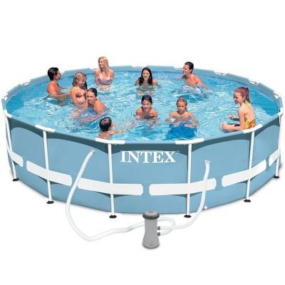 Каркасный бассейн Intex Prism Frame Pool 28718 (366 см х 98 см) + лестница + фильт-насос