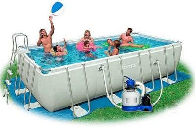 Каркасный бассейн Intex Rectangular Ultra Frame Pool 28352 (549 см х 274 см х 132 см) + аксессуары