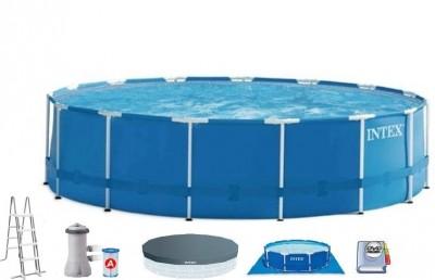 Акция! + 6 фильров на два сезона! Распродажа! Каркасный бассейн Metal Frame Pool Intex 56946 (457 см х 122 см) + аксессуары