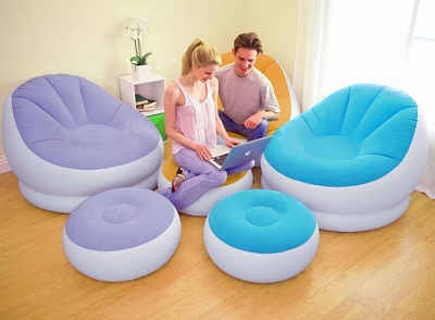 Купить надувное кресло с пуфиком